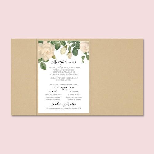 Blizgūs rožių vestuvių kvietimai
