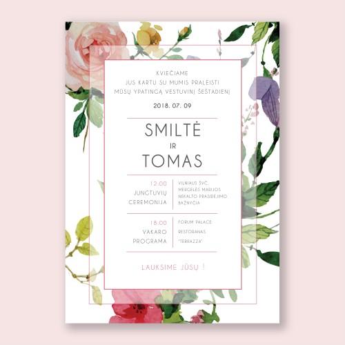 Gėlėti vestuvių kvietimai
