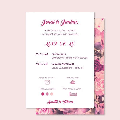 """Vestuvių kvietimai """"Rožės"""""""