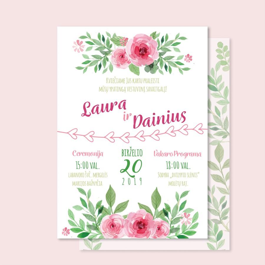 """Vestuvių kvietimai """"Gėlytės"""""""